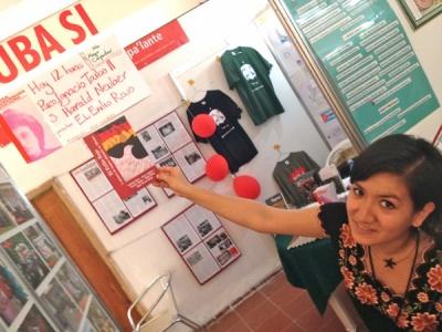 Ankündigung der Lesung am Stand von Cuba Si auf der Buchmesse in Havanna