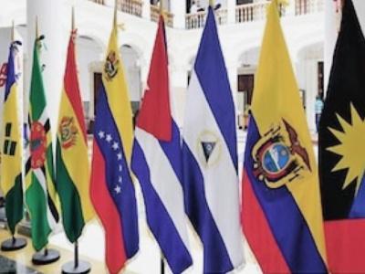 """Die Fahen der ALBA-Staaten. Evo Morales: """"Einige europäische Staaten irren, wenn"""