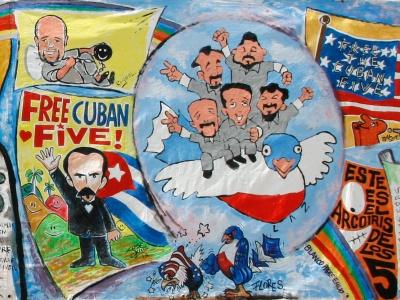 Kubanische Karikaturisten haben den Cuban Five im Februar 2013 auf der Buchmesse