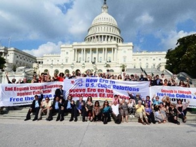 Demonstranten fordern vor dem US-Kongress in Washington die Freilassung der Cuban 5 (Quelle: Azize Tank)