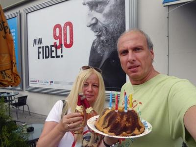 "Fidel-Plakat der ""jungen Welt"" in Rostock"