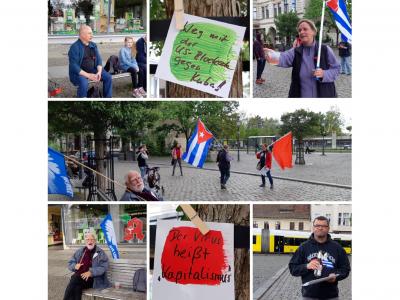 Cuba Sí-Demo am 1. Mai 2020 in der Altstadt von Berlin-Köpenick, Foto: Cuba Sí