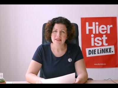 Grußwort der Vorsitzenden der Fraktion DIE LINKE im Bundestag, Amira Mohamed Ali. Screenshot: YouTube