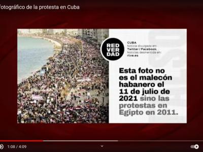 Screenshot aus der Videodokumentation von Cubainformacion.tv - Das Foto angeblicher Massenproteste in Havanna wurde tatsächlich 2011 in Ägypten aufgenommen! Quelle: Youtube