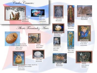 Einige der ausgestellten Werke des Malers Fernández Arce