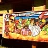 Ein Graffiti-Künstler aus Argentinien - Mitglied der Cuba-Sí-Delegation - stellt auf der Buchmesse aus.