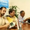 """Harald Neuber, Paco Ignacio Taibo II und Fernando Martínez Heredia bei der Präsentation des Buches """"Padrecito Stalin, ¡ni vuelvas! (Väterchen Stalin, komm nicht wieder!)"""