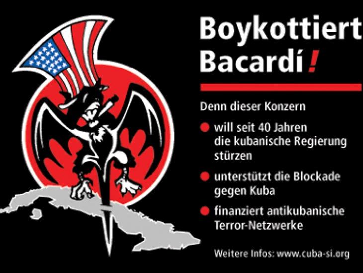 Aufkleber zum Bacardí Boykott